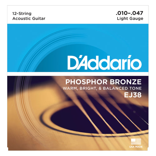 D'Addario EJ38 Phosphor Bronze, 12 string Light, 10-47
