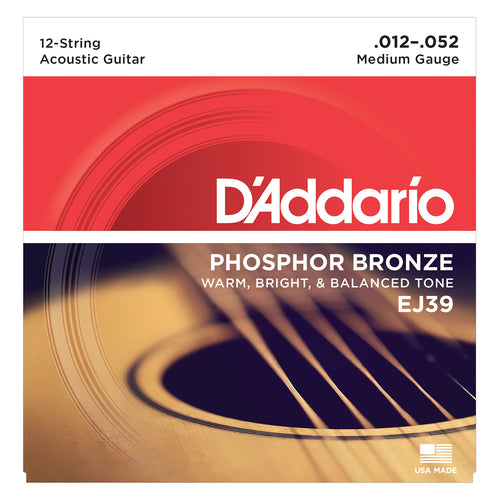 D'Addario EJ39 12-String Phosphor Bronze Acoustic Guitar Strings, Medium, 12-52