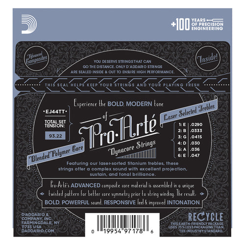 D'Addario EJ44TT ProArte Dynacore Classical Guitar Strings, Titanium Trebles, Extra-Hard Tension