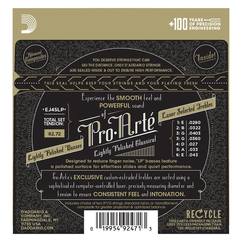 D'Addario EJ45LP Pro-Arte Composite Classical Guitar Strings, Normal Tension