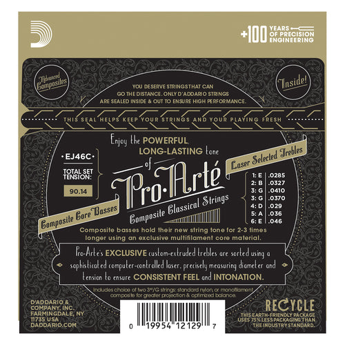 D'Addario EJ46C Pro-Arte Composite Classical Guitar Strings, Hard Tension