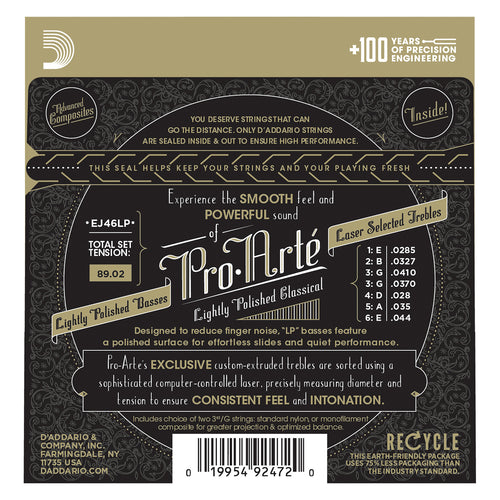 D'Addario EJ46LP Pro-Arte Composite Classical Guitar Strings, Hard Tension