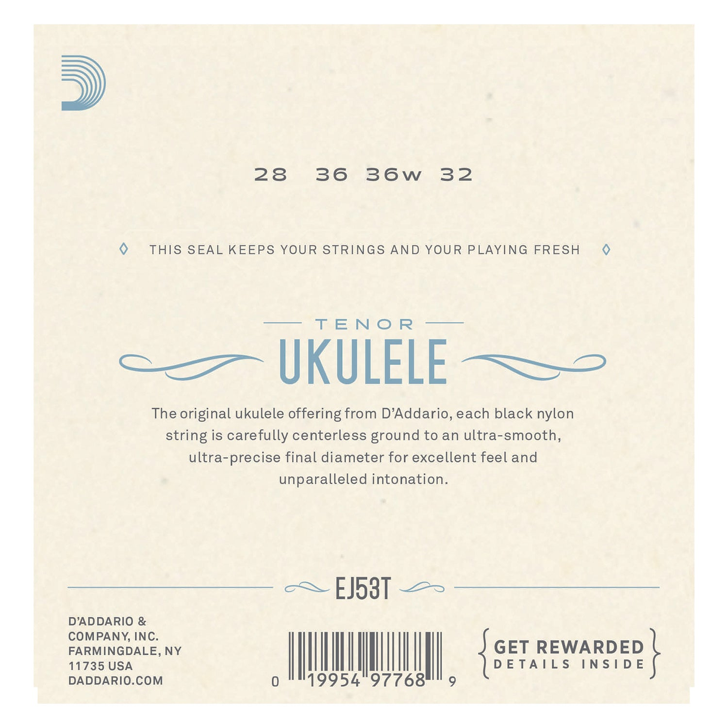 D'Addario EJ53T Pro-Arté Rectified Ukulele Strings, Tenor Ukulele/Hawaiian