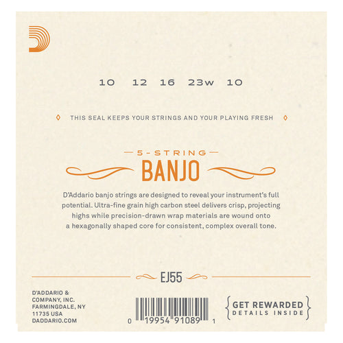 D'Addario EJ55 5-String Banjo Strings, Phosphor Bronze, Medium, 10-23