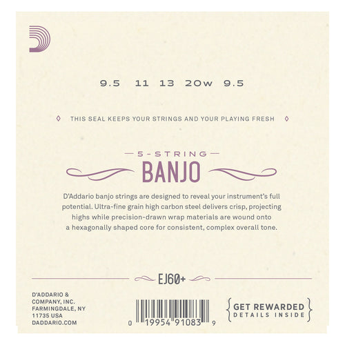 D'Addario EJ60+ 5-String Banjo Strings, Nickel, Light Plus, 9.5-20