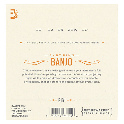 D'Addario EJ61 5-String Banjo Strings, Nickel, Medium 10-23