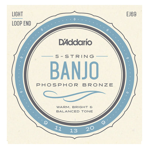 D'Addario EJ69 5-String Ball-End Banjo Strings, Phosphor Bronze, Light, 9-20