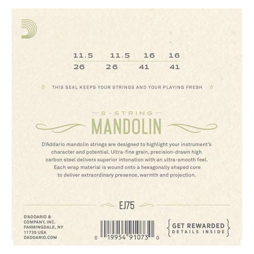 D'Addario EJ75 Mandolin Strings, Phosphor Bronze, Medium/Heavy, 11.5-41