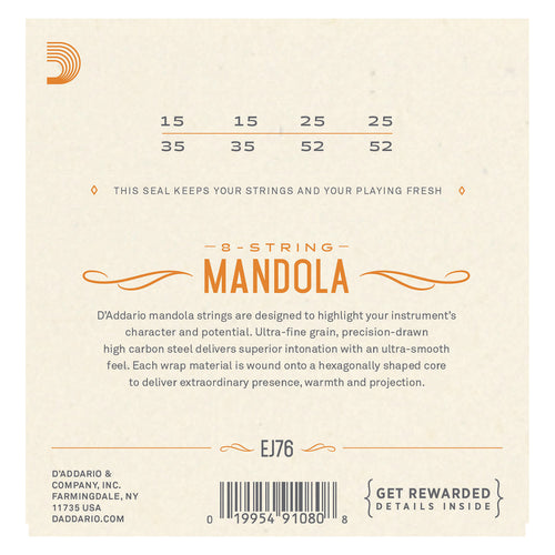 D'Addario EJ76 Phosphor Bronze Mandola Strings, Medium, 15-52