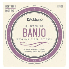 D'Addario EJS57 5-String Banjo Strings, Stainless Steel, Custom Medium, 11-22