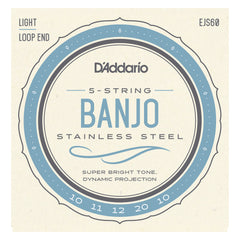 D'Addario EJS60 5-String Banjo Strings, Stainless Steel, Light, 9-20
