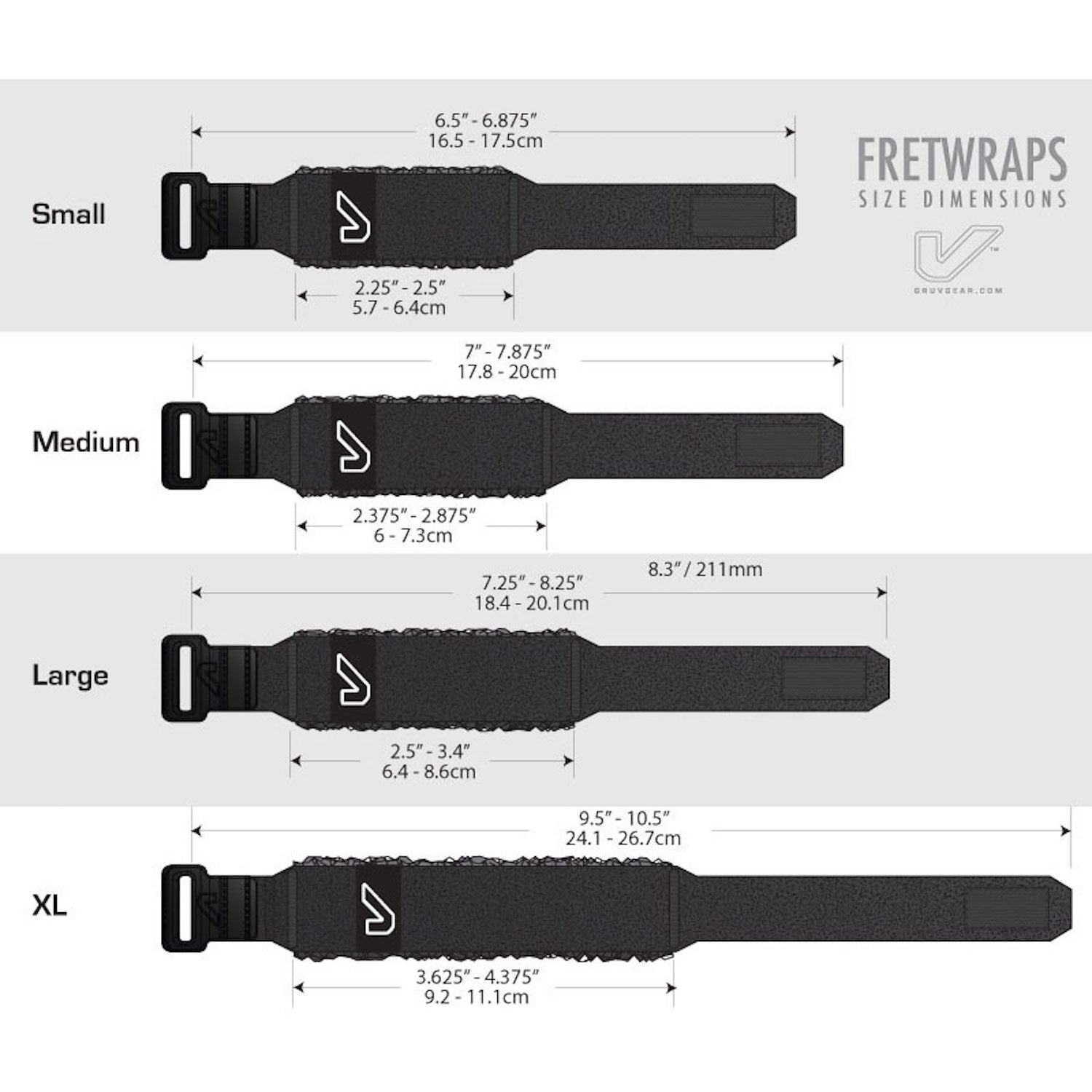 Gruvgear Fretwraps 1-Pack Black-Small