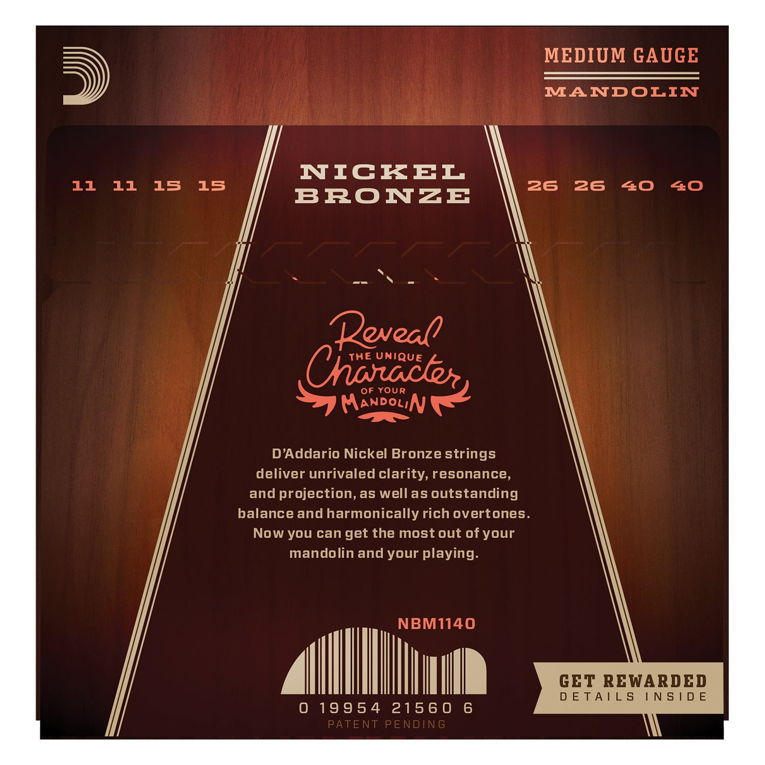 D'Addario NBM1140 Nickel Bronze Mandolin Strings, Medium, 11-40