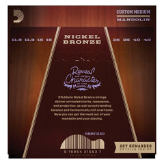 D'Addario NBM11540 Nickel Bronze Mandolin Strings, Light, 11.5-40