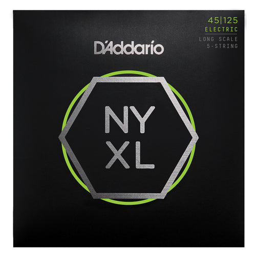 D'Addario NYXL45125 Nickel Wound Bass Guitar Strings, 5-String Lt Top / Med Btm, 45-125, Long Scale