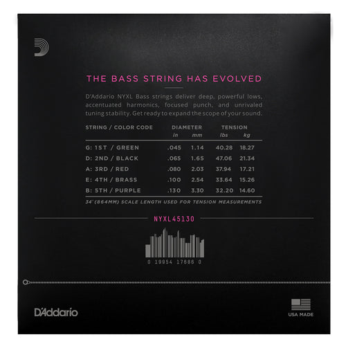 D'Addario NYXL45130 Nickel Wound Bass Guitar Strings, 5-string Regular Light, 45-130, Long Scale