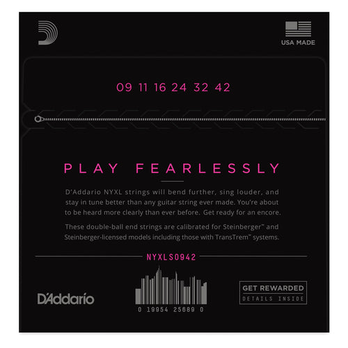 D'Addario NYXLS0942 Nickel Wound Electric Guitar Strings, Super Light, Double Ball End, 09-42