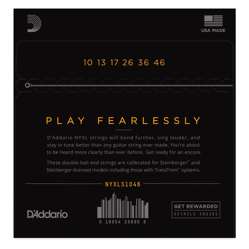 D'Addario NYXLS1046 Nickel Wound Electric Guitar Strings, Regular Light, Double Ball End, 10-46