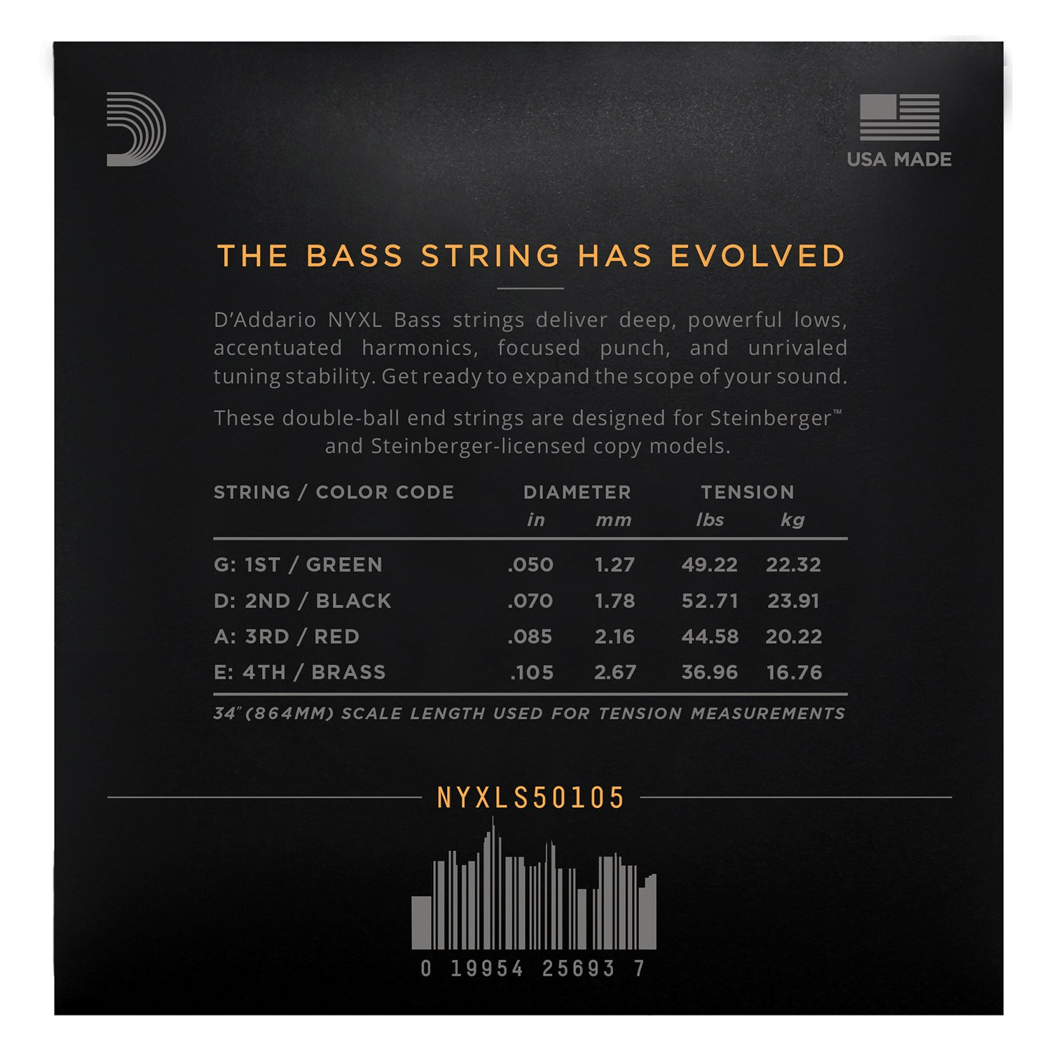 D'Addario NYXLS50105 Nickel Wound Bass Guitar Strings, Medium, 50-105, Double Ball End Long Scale