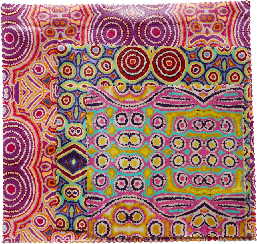 Beeswax Food Wraps - Australian Aboriginal Artist 3 Pack