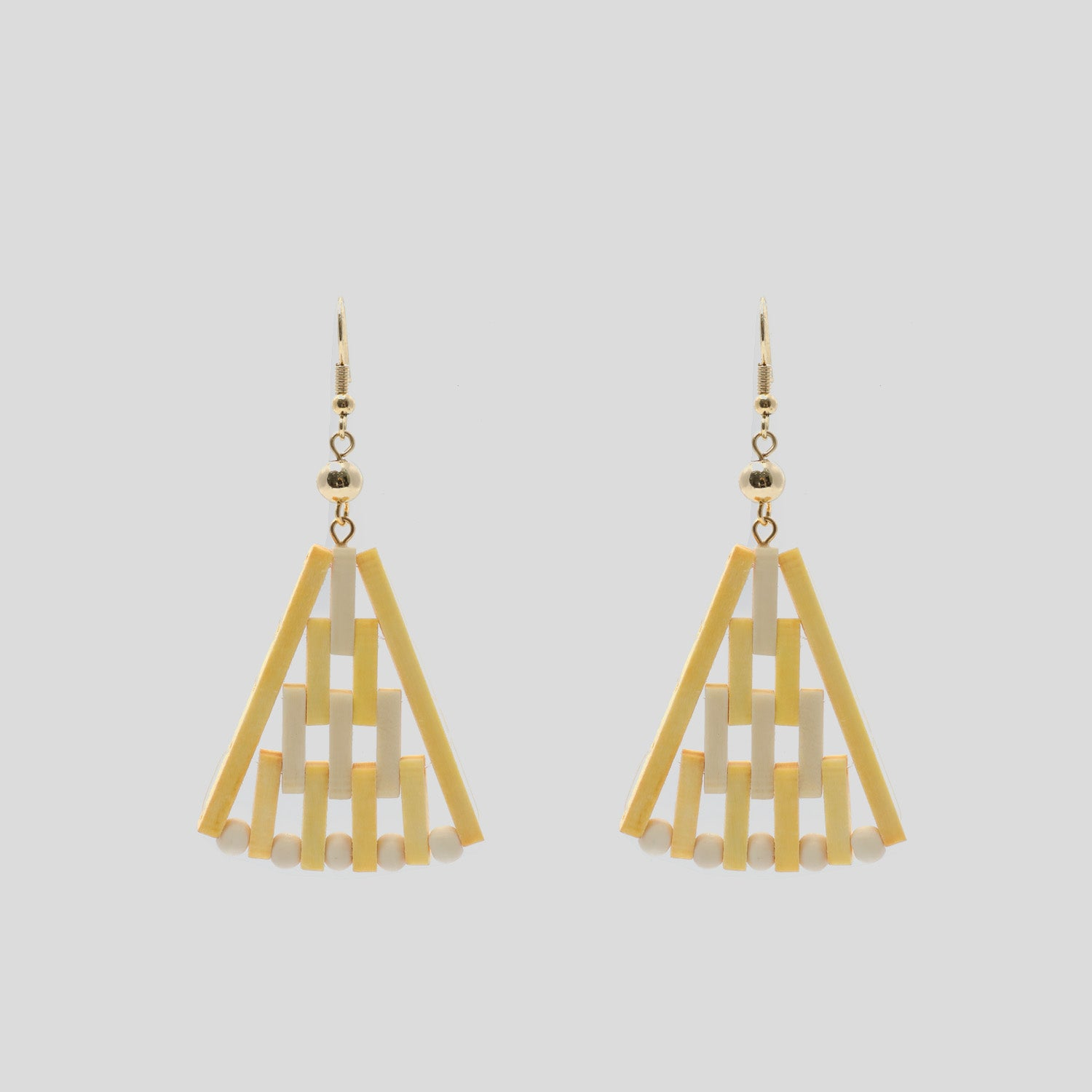 Wooden Wedge Earrings - Yellow