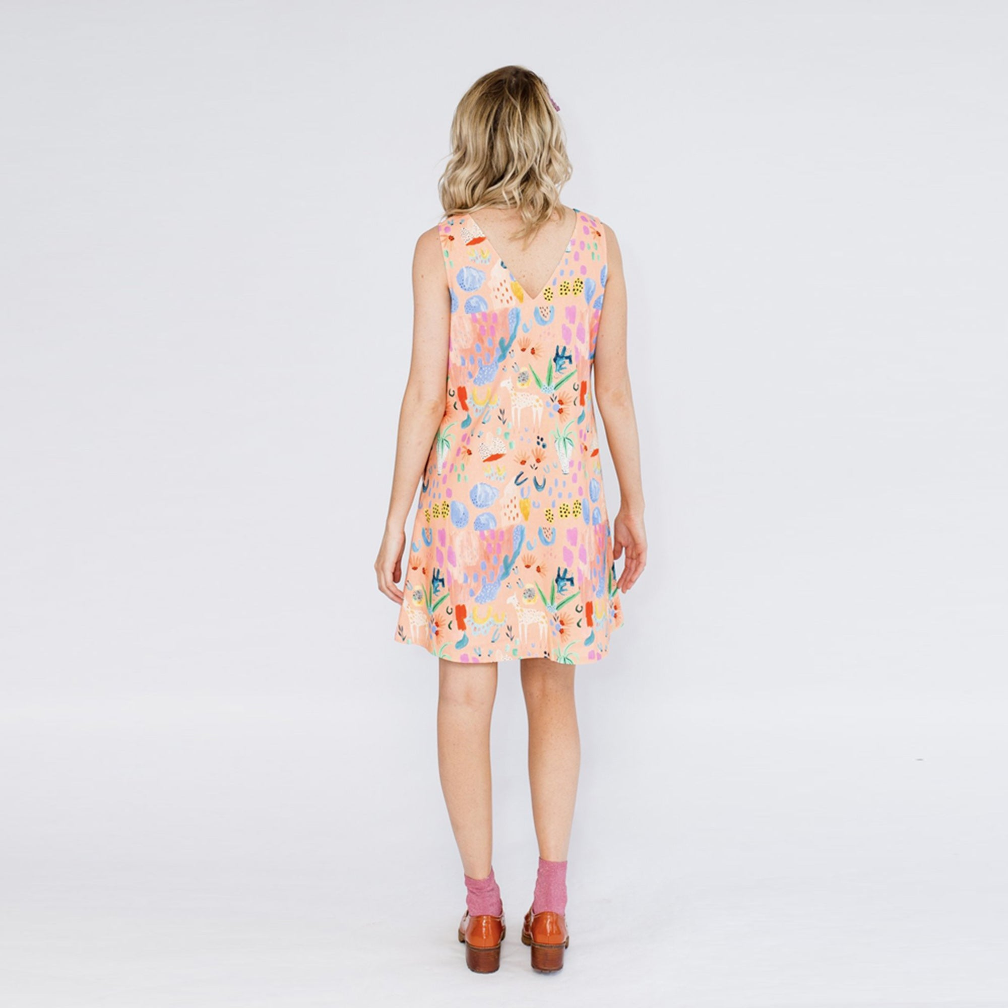 Little Llama (Peach) Shift Dress