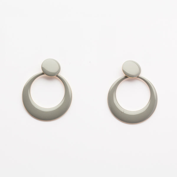Enamel Retro Earrings - Grey