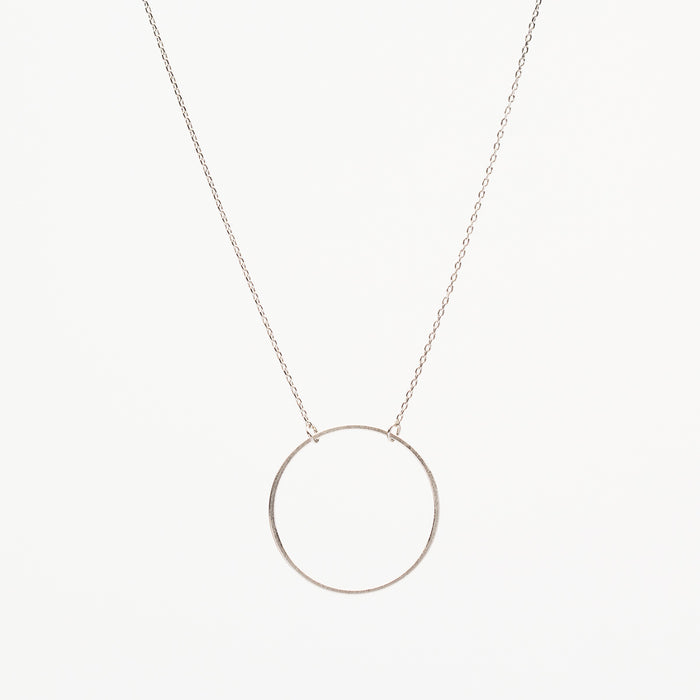 Large Circle Outline Necklace - Silver