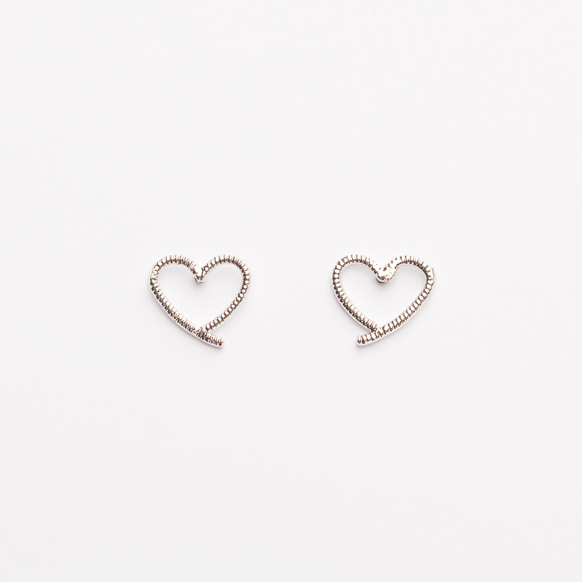 Heart Outline Extend Studs - Silver