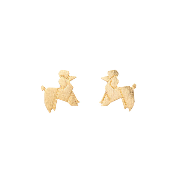 Origami Poodle Studs - Gold