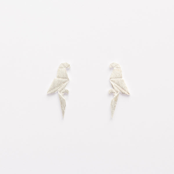 Origami Parrot Studs - Silver