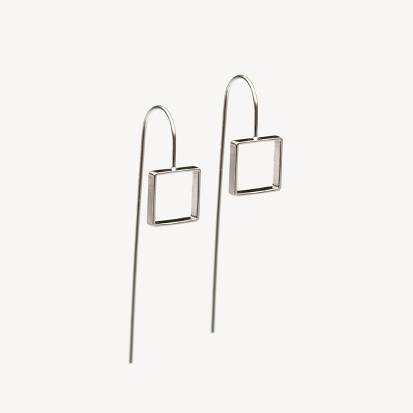 Square Drop Earrings - Silver