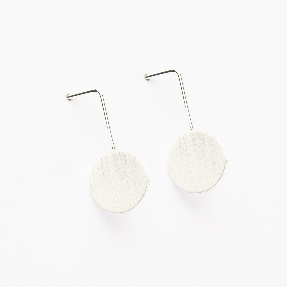 Drop Circle Earrings - Silver