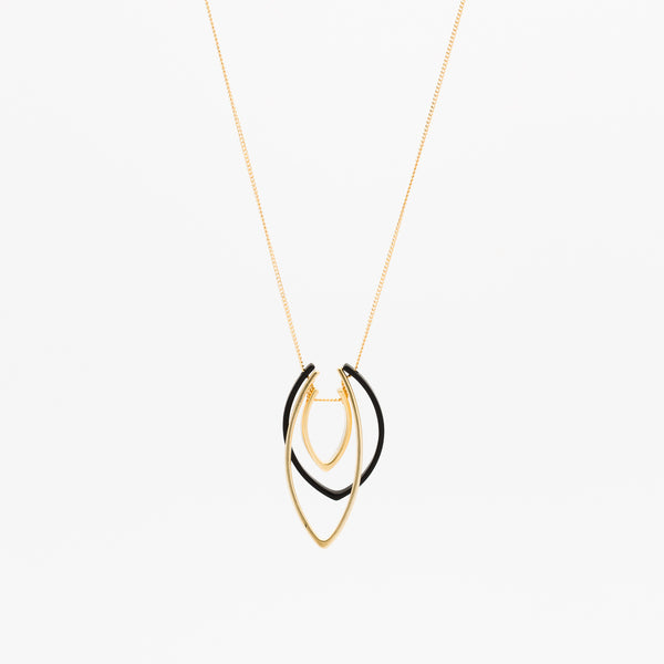 Triple Flame Necklace - Gold/Black