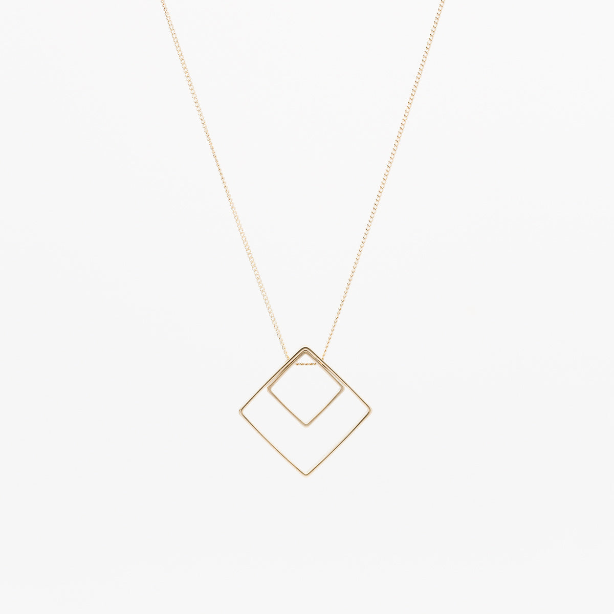 Double Square Necklace - Gold