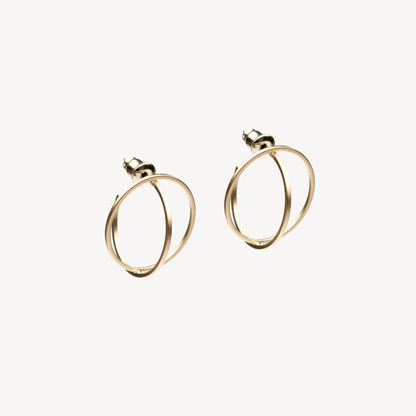 Double Circle Hoops - Gold