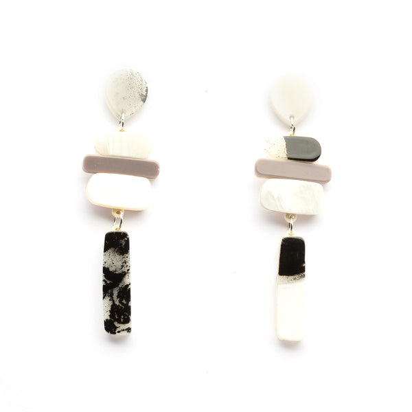 Acrylic Tower Earrings - Grey