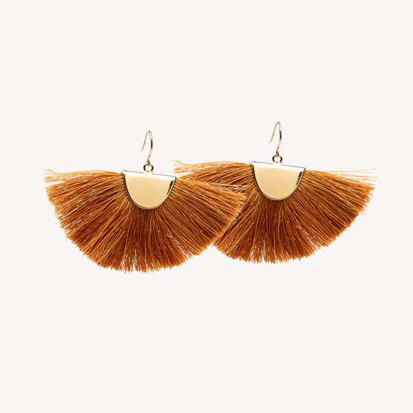 Tassel Fan Earrings - Tan