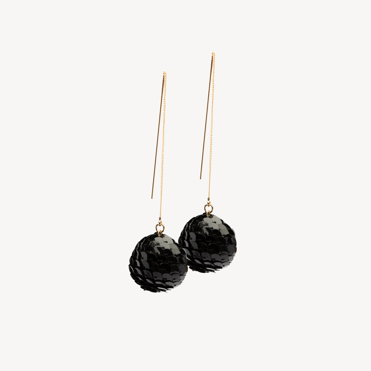 Sequin Drop Ball Earrings - Black