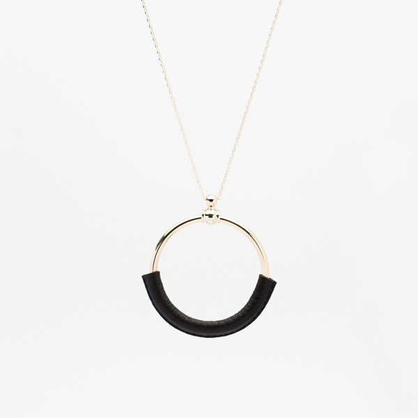 Leather Ring Necklace - Black