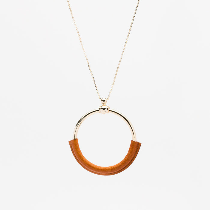 Leather Ring Necklace - Brown