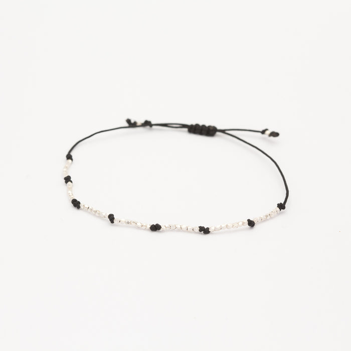 STERLING SILVER - THREADED BEAD BRACELET BLACK