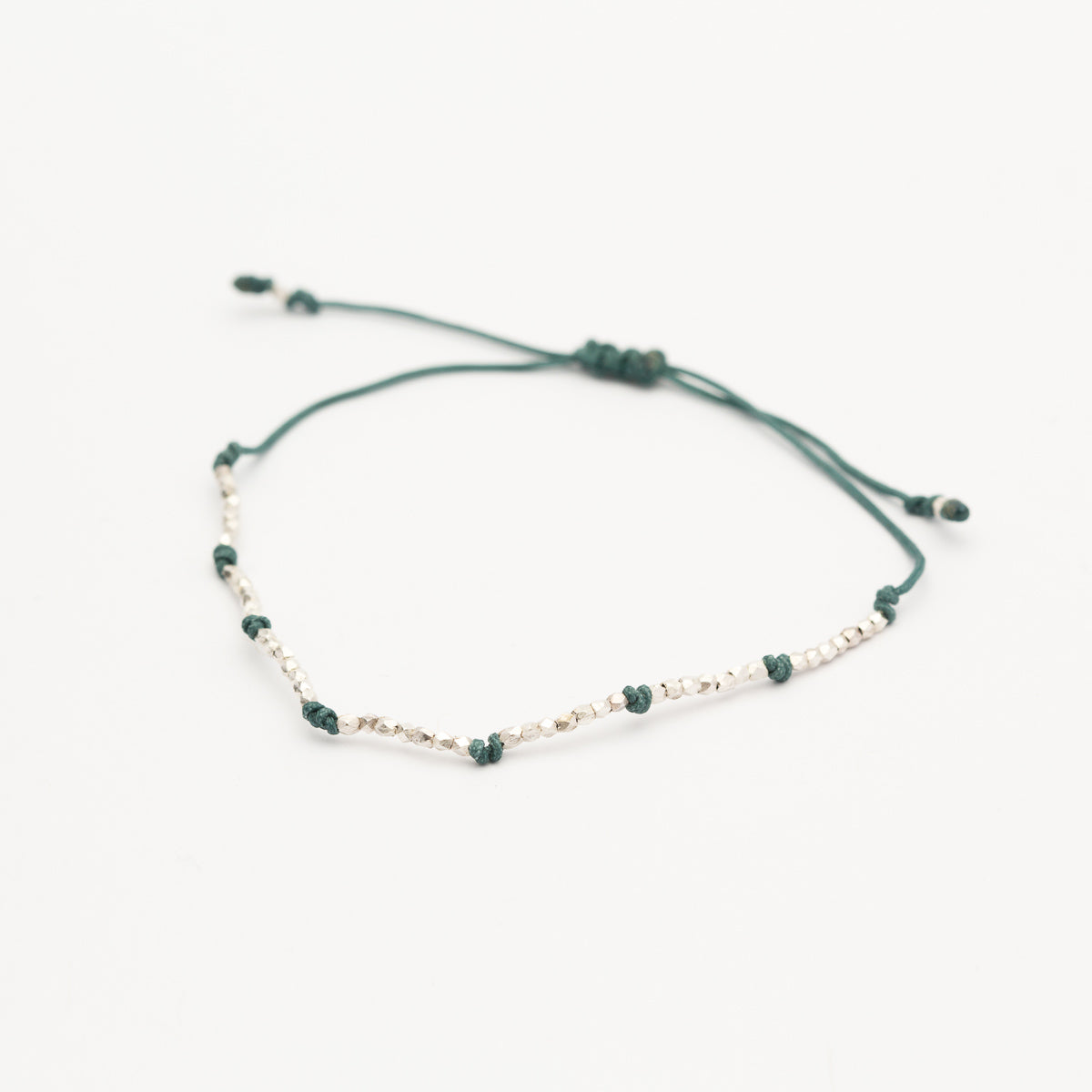 Sterling Silver - Threaded Bead Bracelet Teal