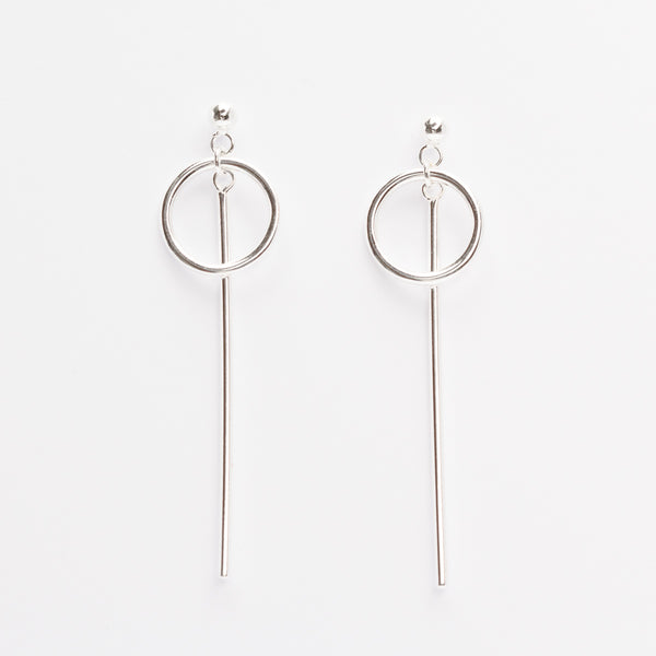 Sterling Silver - Circle And Bar Earrings