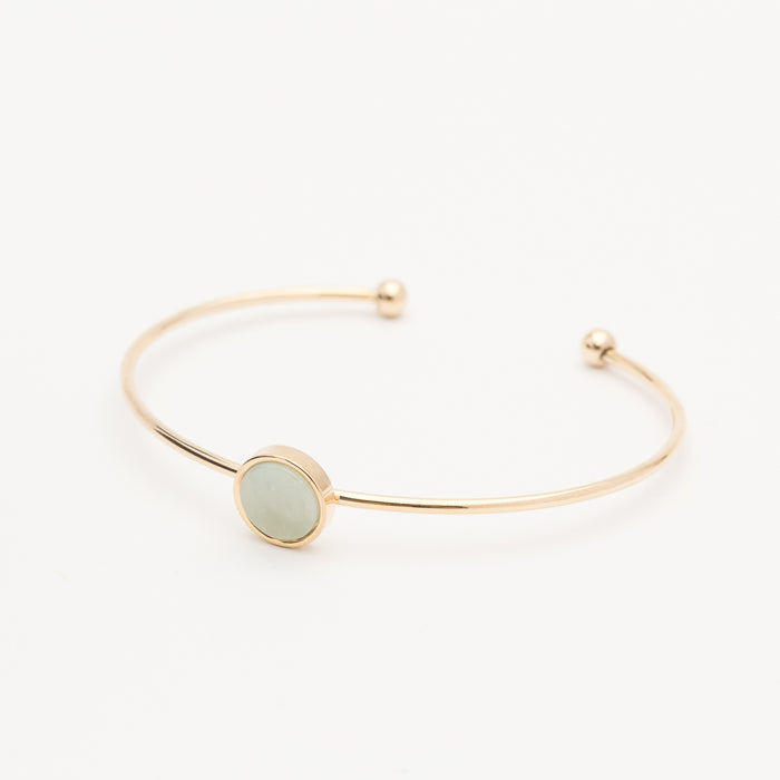 Circle Bangle - Gold/Green
