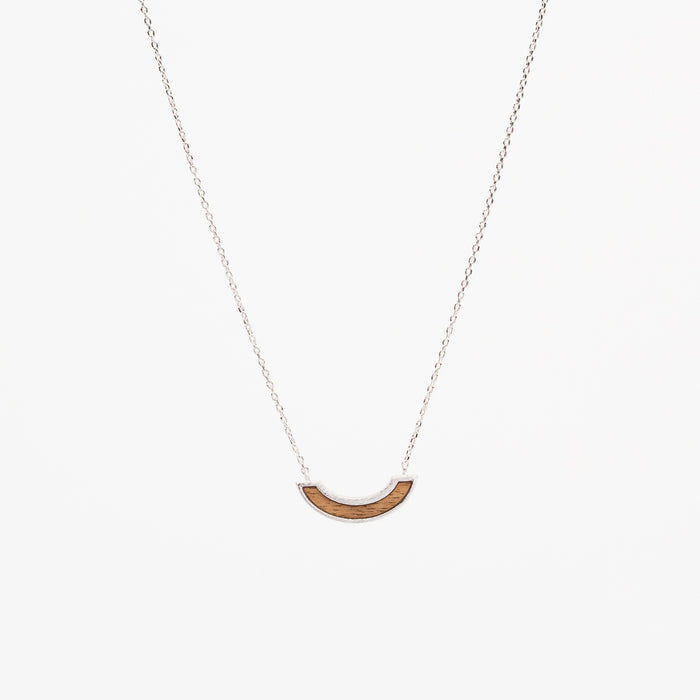 Wood Arc Necklace - Silver