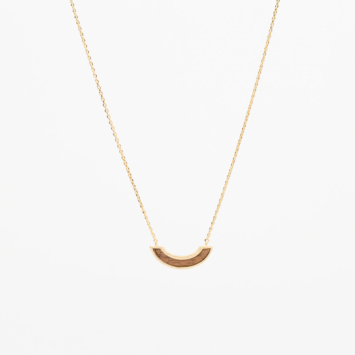 Wood Arc Necklace - Gold