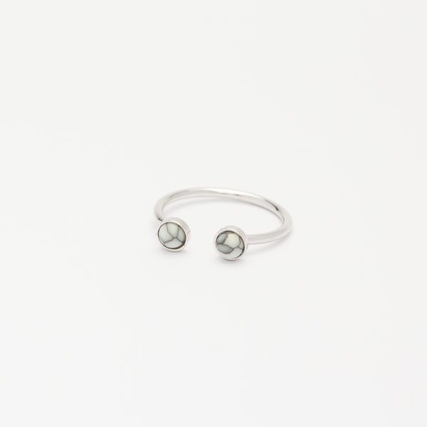 Double Howlite Ring - Silver