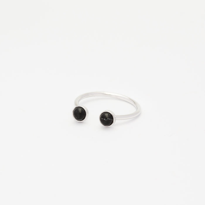 Double Onyx Ring - Silver