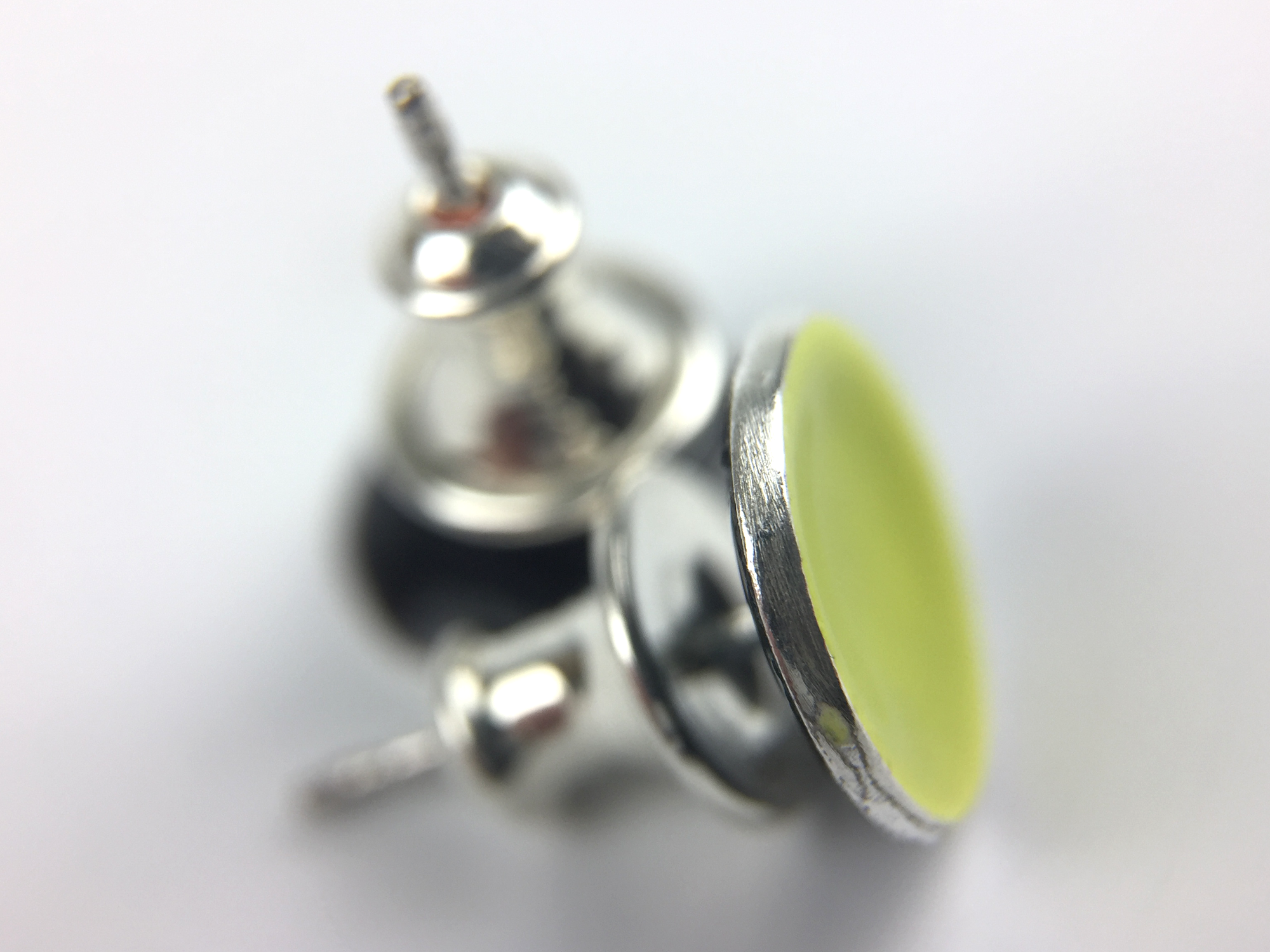 Small Lime Green Enamel Stud Earrings - Oddbox Studio